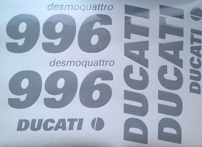 DUCATI 748 OR 996 SIDE FAIRING & TANK DECALS SET Or 916