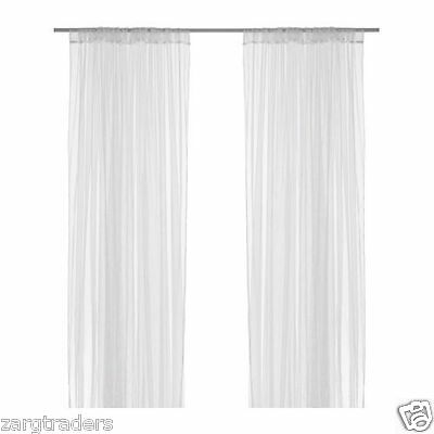 IKEA LILL - Sheer Floaty Long Curtains White  2 x 280 cm x 250 cm