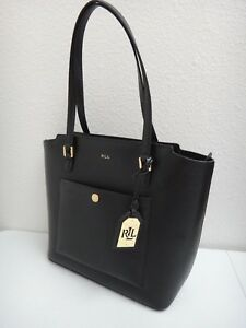 d934f71ac5 RALPH LAUREN Women s Lowell Tote Bag Purse Black Real Leather Gold ...