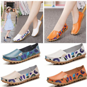 Womens-Casual-Leather-Loafers-Driving-Moccasins-Lazy-Peas-Shoes-Slip-On-Flats