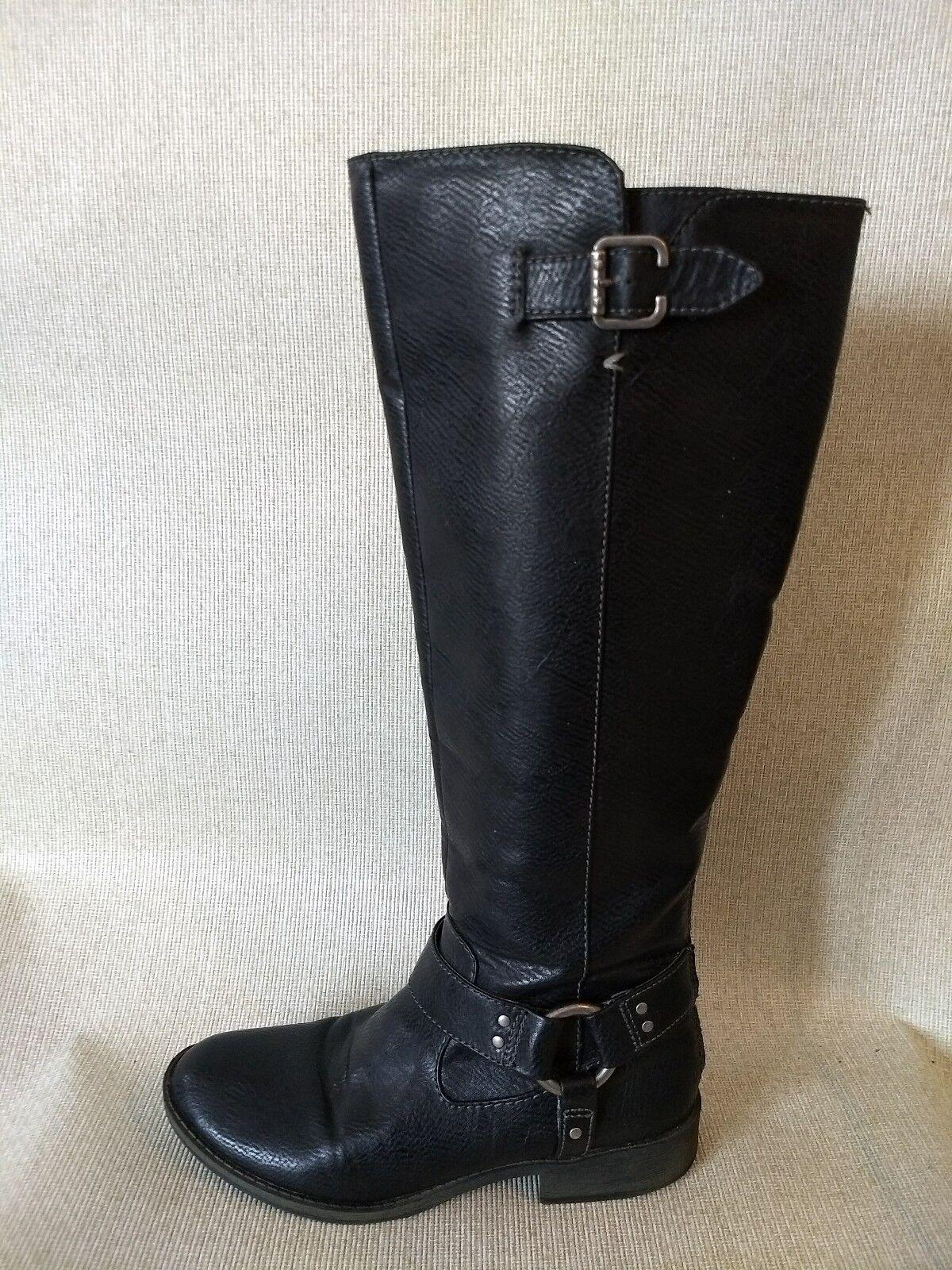 Dr Scholl's Knee High Zipper Buckles Low Heel Comfort Women's Boots Black Sz 6M