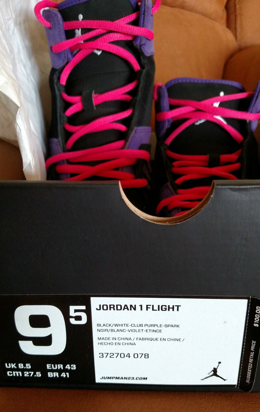 EUC NIKE AIR JORDAN 1 FLIGHT BLK/WHT/PURPLE 372704 078 SIZE 9-1/2 The latest discount shoes for men and women