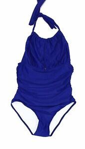 Designer-Brand-Womens-Swimwear-Blue-Small-S-High-Neck-Ruched-Swimsuit-40-717