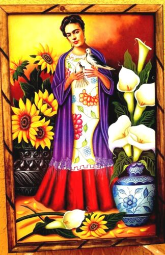 "Art Framed Print//Painting Mexico Wood Frida Kahlo /""Talavera Doves/"" 35/""X 24/"" Huge"