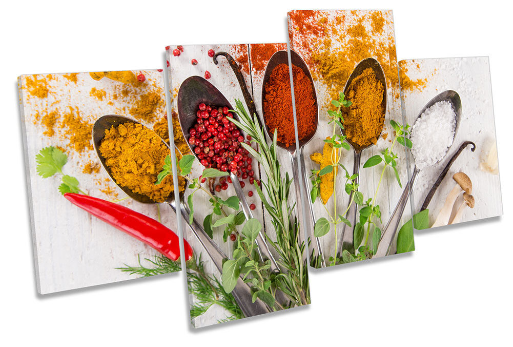 Kitchen Spoon Floral Spices Picture MULTI CANVAS WALL ART Print