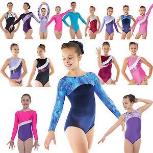 Gymnastics-Leotard-Girls-Metallic-Lycra-Velvet-Unitard-Shine-Gym-Leotards-UK