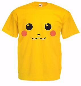 Pikachu-pokemon-kid-039-s-jaune-100-coton-fruit-of-the-loom-tv-cartoon-t-shirt