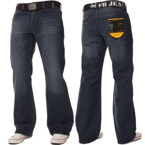FBM Mens Flare Leg Bootcut Jeans Wide Fit Blue Free Belted Denim Pants All Waist