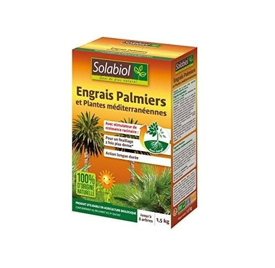 ENGRAIS PALMIERS PLANTES MÉDITERRANÉENNE 1,5KG feuille verte fertilise SOLABIOL