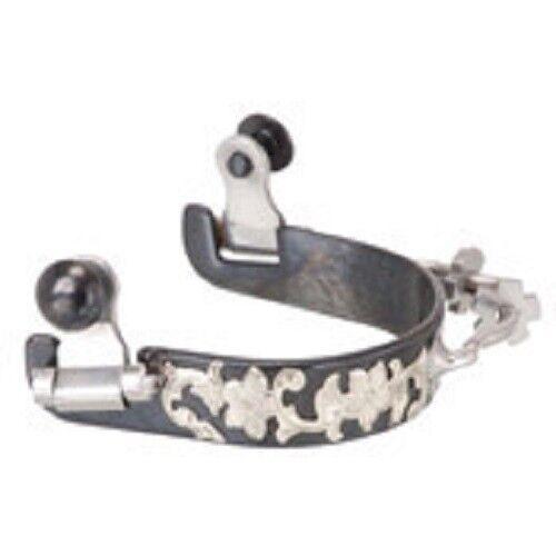 Acero Negro Damas Parachoques Espuelas con recubrimiento de de de plata grabado floral 4cff68