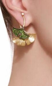 18K-Yellow-Gold-Filled-Gemstone-Ear-Hook-Dangle-Drop-Earrings-Jewelry-Women-Leaf