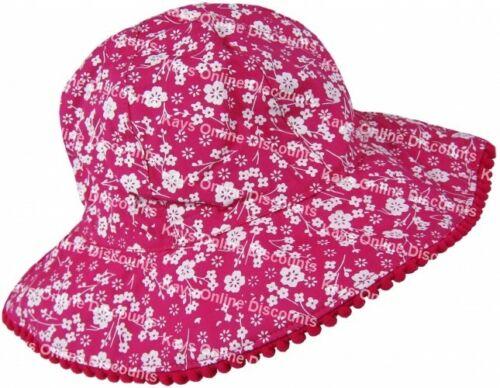 Girls Summer Hat Childrens Toddlers Cotton Floral Design Wide Brim Beach Sun Cap