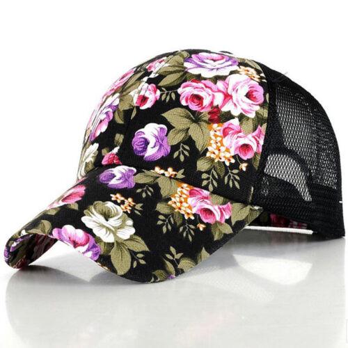 Womens Snapback Baseball Cap Floral Flat Mesh Rapper Summer Hip Hop Casual Hats