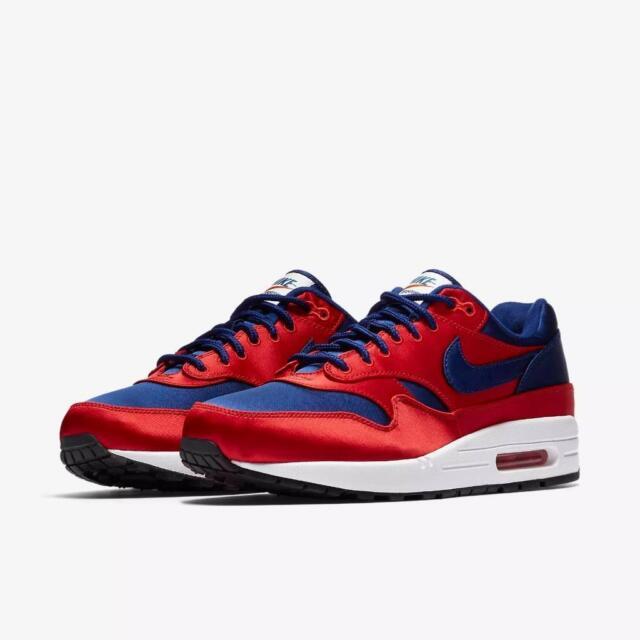"Men/'s Nike Air Max 1 SE /""Satin/"" Deep Royal Blue//Red Athletic Fashion AO1021 600"