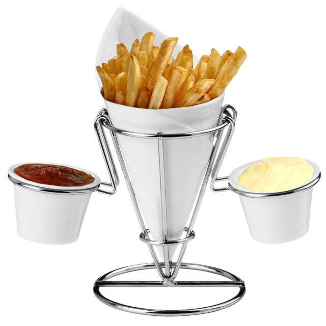 French Fry Porcelain Chip Cone Finger Foods Chrome Wire Stand With 2 Dips Holder