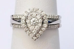 Pear-Shape-Diamonds-Ring-Set-Bridal-Engagement-Wedding-White-Gold-With-Two-Bands