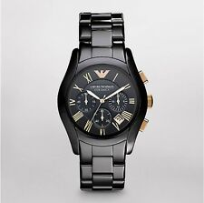 New EMPORIO ARMANI. Black Ceramica model AR1410 Mens Watch Rose Gold 100% Authen