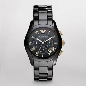 New-EMPORIO-ARMANI-Black-Ceramica-model-AR1410-Mens-Watch-Rose-Gold-100-Authen