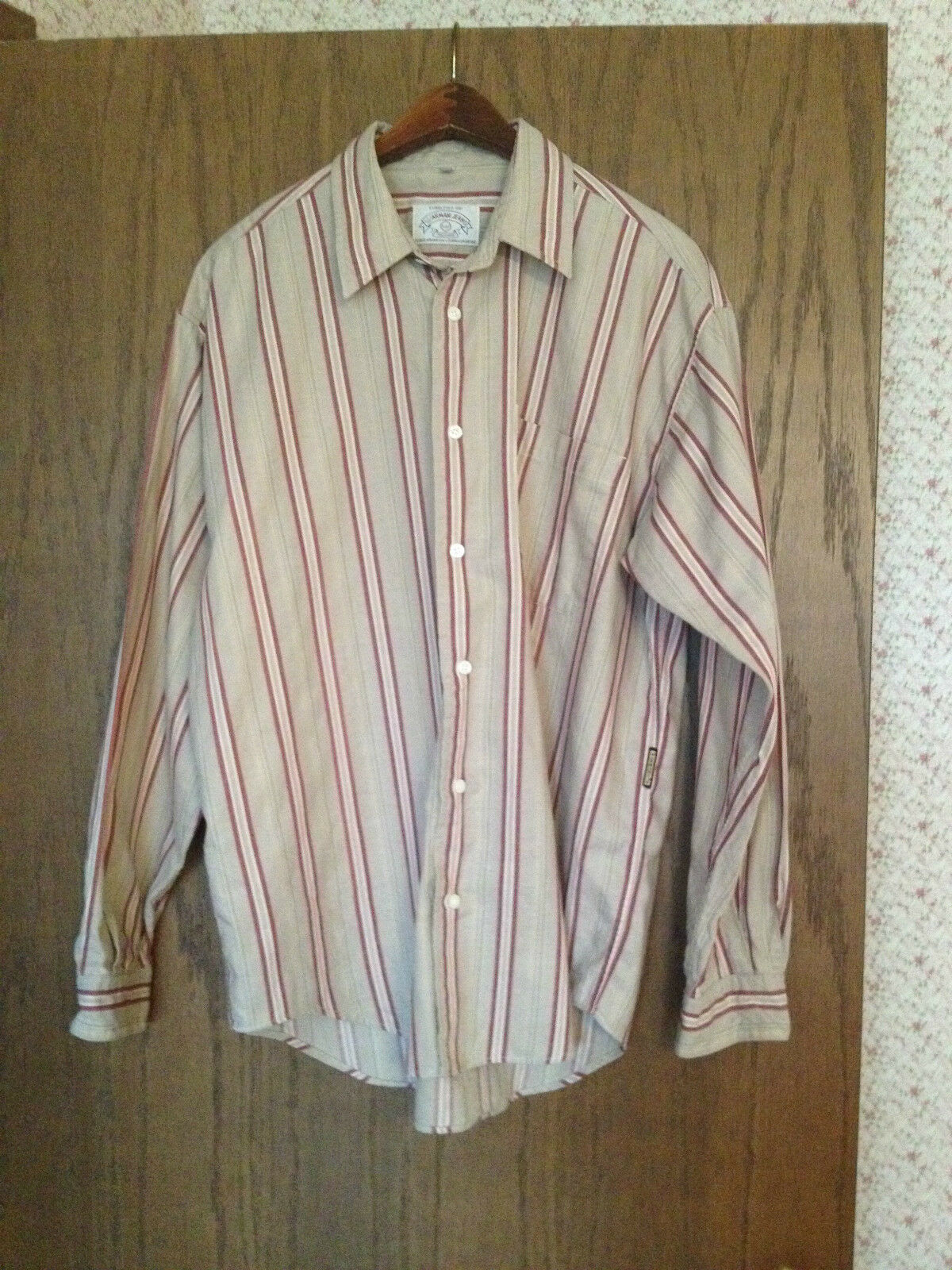 Men's  Armani Jeans  Tan & Maroon Striped 100% Cotton Long Sleeved Shirt Size M