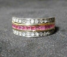 VICTORIAN 14K GOLD & STERLING SILVER FLIP RING OF SAPPHIRES,DIAMONDS & RUBIES