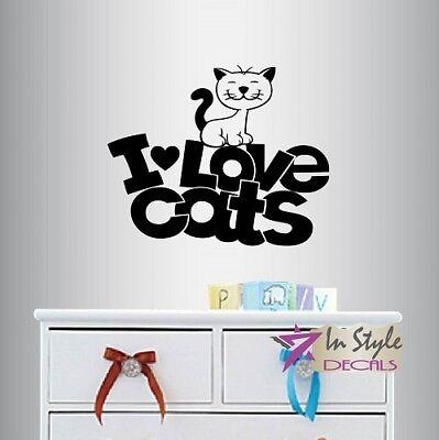 ed809 Wall Decal Cat Pet Phrase Meow Cute Vinyl Sticker