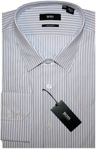 NEW-HUGO-BOSS-WHITE-w-PURPLE-STRIPES-REGULAR-FIT-DRESS-SHIRT-17-36-37