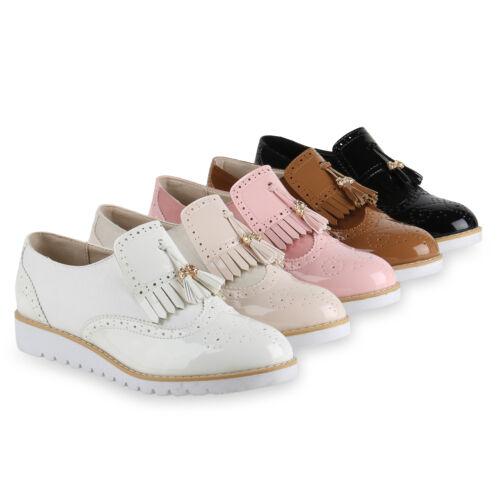 Damen Slipper Tassel Loafer Profilsohle Lack Leder-Optik 814608 Schuhe