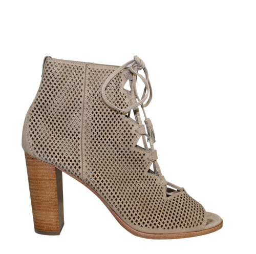 Frye Used Gabby Perf Ghillie Open Toe Bootie Taupe