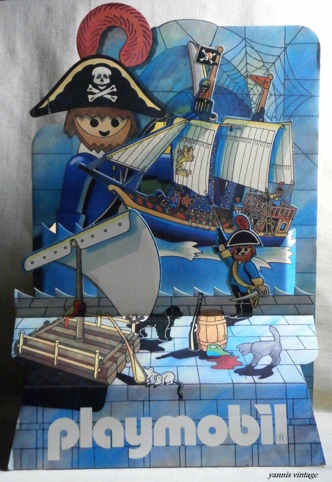 Playmobil Pirates SHOP DISPLAY STAND USED HARD PAPER VTG 80s Unique