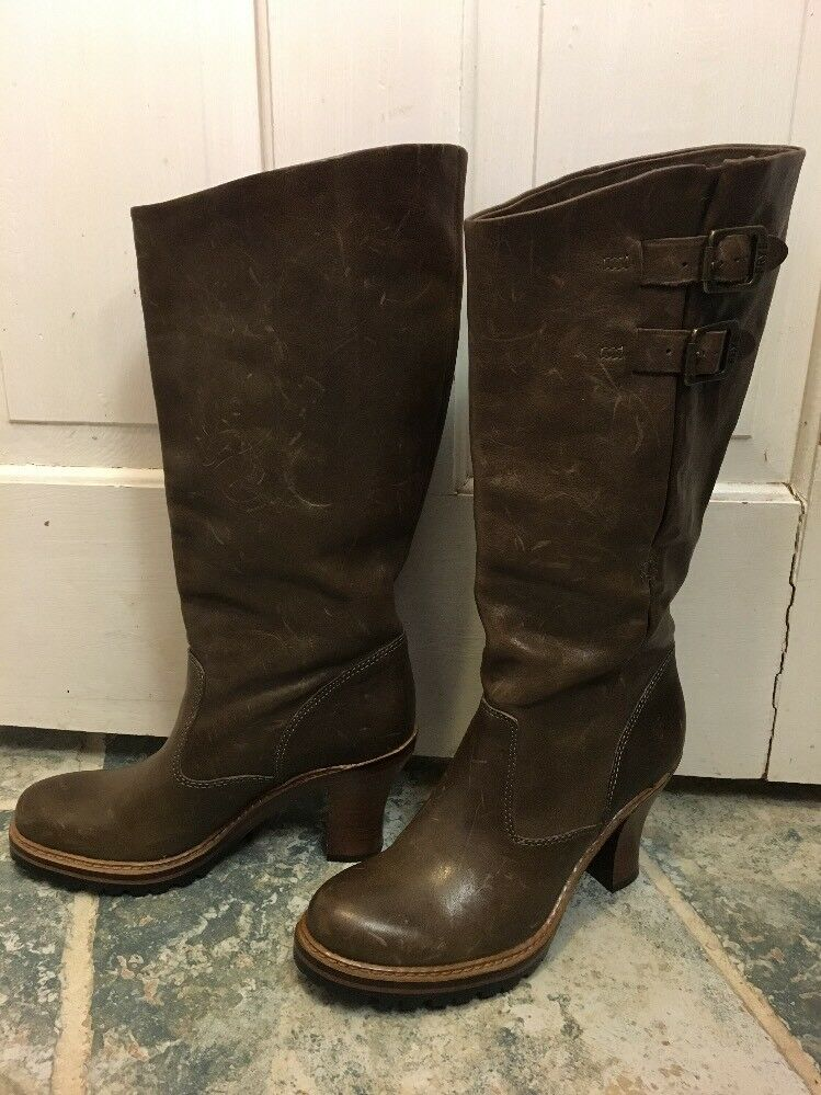 Frye - Mildred Pull-On, Mid-Calf, Leather Boots 7.5 Brand New Chocolate Brown