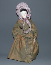 Biedermeier Puppe, China Head , Brustblattkopf, Stoffkörper, Leder,  55,0 cm