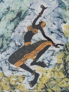 Hand Signed - Dancing In The Clouds - by Paul Nzalamba - African Art Batik Print