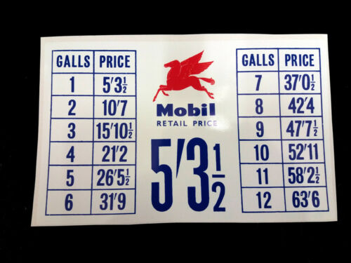 Mobil Vintage Style Petrol Pump Price List Sticker