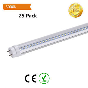 T12-T8-4ft-LED-Tube-Light-6500K-6000K-Clear-Lens-Double-end-Bypass-Ballast-25pcs