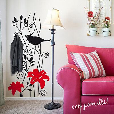 00382 Adesivi Murali Wall Stickers Appendiabiti con 3 ganci 120x101 cm