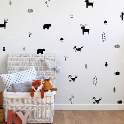 Nordic Style Forest Animal Wall Decals Nursery Vinyl Art Stickers Rome Decor S