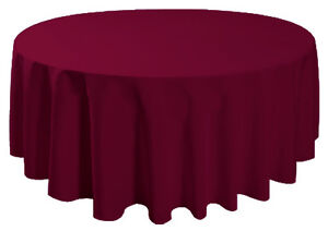 "90"" Round Table Cover Seamless Wedding Banquet Tablecloth - BURGUNDY RED"