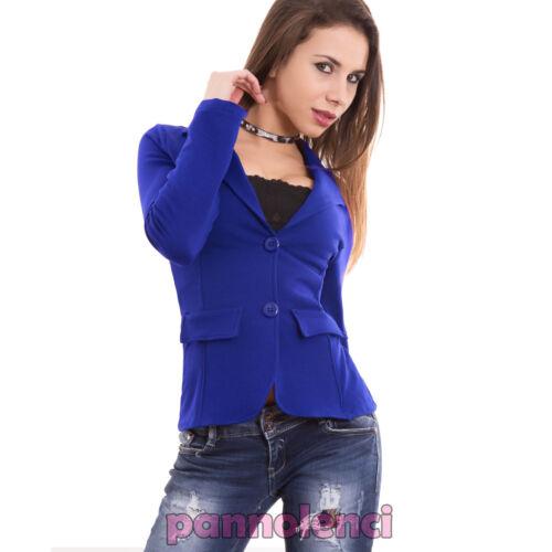 Giacca donna felpata cotone maniche lunghe avvitata bottoni nuova CC-1113