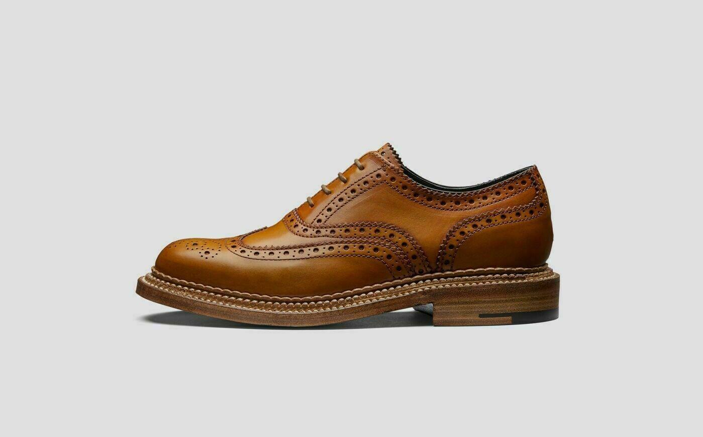Damen Handarbeit aus echtem Leder Oxford Brogue Wingtip Doppelsohle Schuhe