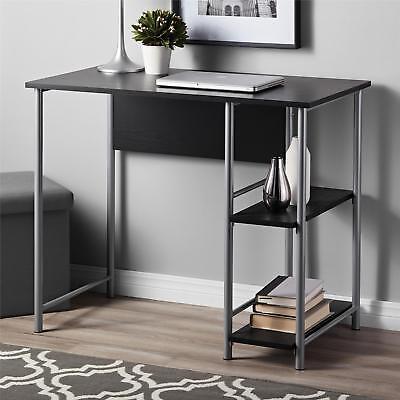 Computer Desk Metal Office Student Desk with 2 Side Shelves Storage Black