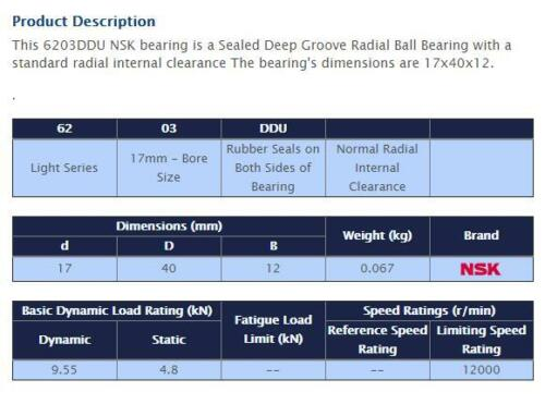 NSK 6203 DDU Deep Groove Radial Ball Bearing 17x40x12mm