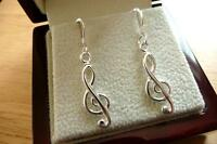925 STERLING SILVER MUSIC NOTE TREBLE CLEF LONG DROP DANGLE HOOK EARRINGS last 1