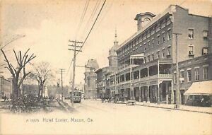 GA-GEORGIA-MACON-HOTEL-LANIER-EARLY-PRE-1907-DIRT-STREET-SCENE-TROLLEY