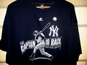 NEW YORK YANKEES VTG THE CAPTAIN IS BACK! DEREK JETER JERSEY T-SHIRT ... 5976d0e4775