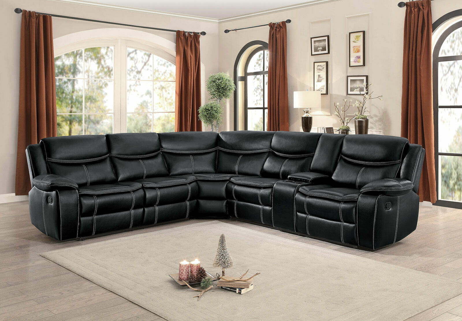 New Motion Sofa Sectional Black Faux Leather Reclining Living Room Couch Set F6a