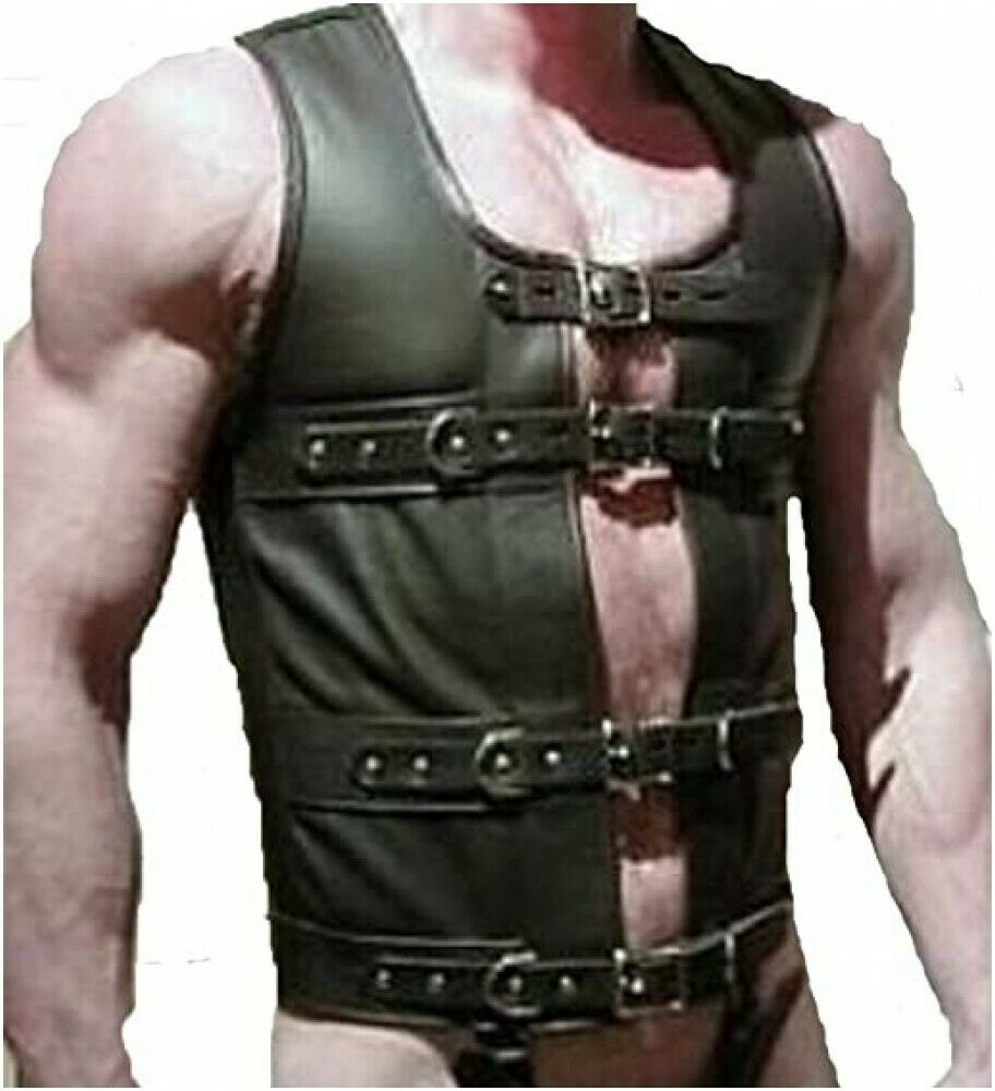 Mens Real Black Leather Corset Black Leather Fully Lockable