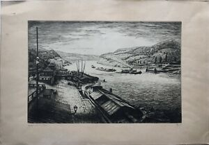 Etching-ship-on-the-Rhine-Barges-SIGNED-inland-port