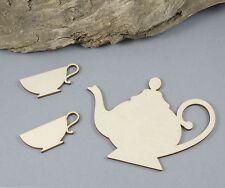Teapot 2 Teacups Craft Embellishment MDF Laser Cut Wooden Shape