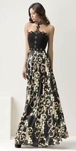 prezzo competitivo b8652 ea218 Dettagli su Abito lungo Maestri a fiori gonna larga girocollo 44 Elegant  dress Kleid Robe