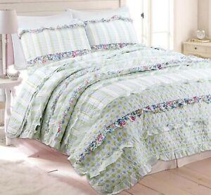 Adalyn Ruffle Lace 100 Cotton Reversible Quilt Set Bedspread Coverlet Ebay